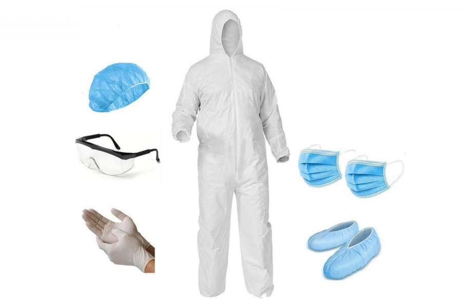 Single-use Plastic PPE floods drainages and oceans. image